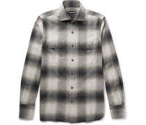 Slim-fit Cutaway-collar Checked Cotton-flannel Shirt