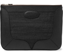 Full-grain Leather-trimmed Denim Pouch