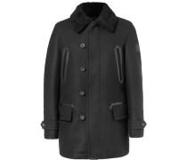 Saddleworth Leather And Shearling-trimmed Virgin Wool-blend Coat