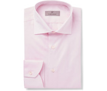 Pink Slim-fit Cotton-twill Shirt