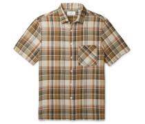 Convertible-Collar Checked Cotton Shirt