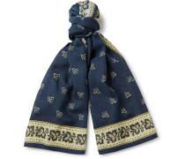 Indigo-dyed Printed Wool Scarf