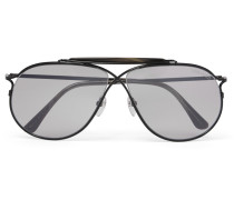 Private Collection Aviator-style Horn-trimmed Titanium Photochromic Sunglasses