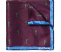 + Gufrum Cactus-print Silk Pocket Square