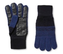 Colour-block Wool And Leather Gloves