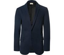 Blue Slim-fit Stretch-cotton Piqué Blazer