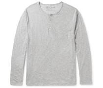 Slim-fit Mélange Cotton-jersey Henley T-shirt