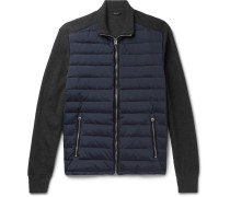 Ribbed Merino Wool And Quilted Shell Down Jacket