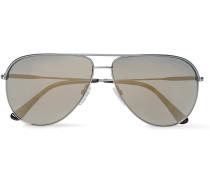 Erin Aviator-style Gunmetal-tone Sunglasses
