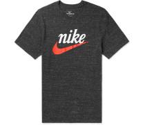 Logo-Print Mélange Cotton-Blend Jersey T-Shirt