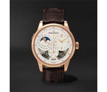 Duomètre Quantième Lunaire Hand-Wound Moon-Phase 42mm 18-Karat Pink Gold and Alligator Watch, Ref. No. Q6042422MS