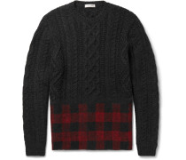 Check-panelled Cable-knit Wool And Alpaca-blend Sweater