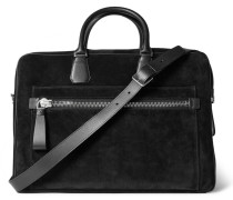 Leather-trimmed Suede Briefcase