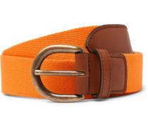 3cm Orange Webbing And Leather Belt