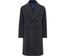 Robbie Shawl-Collar Double-Breasted Checked Alpaca-Blend Coat