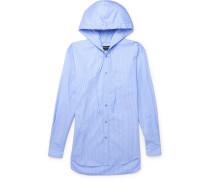 Striped Cotton-poplin Hooded Shirt