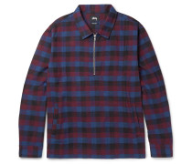 Slim-fit Checked Cotton Half-zip Overshirt