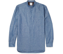 Grandad-collar Cotton And Linen-blend Chambray Shirt