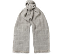 Checked Cotton And Linen-blend Scarf