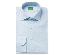 Cutaway-Collar Pinstriped Cotton-Poplin Shirt