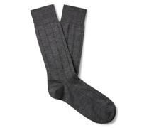 Ribbed Mélange Cashmere-Blend Socks