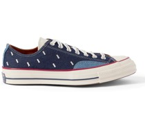 Chuck 70 OX Embroidered Denim and Canvas Sneakers