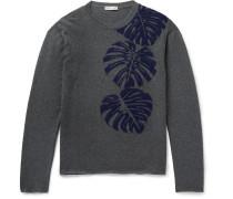 Palm Leaf Intarsia Cashmere Sweater