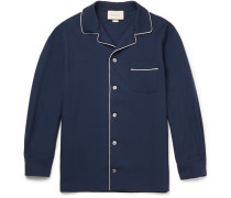 Camp-collar Contrast-trimmed Wool And Mohair-blend Twill Shirt