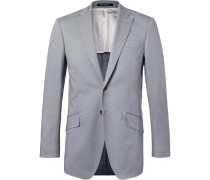 Grey Seishin Slim-fit Stretch-cotton Twill Suit Jacket