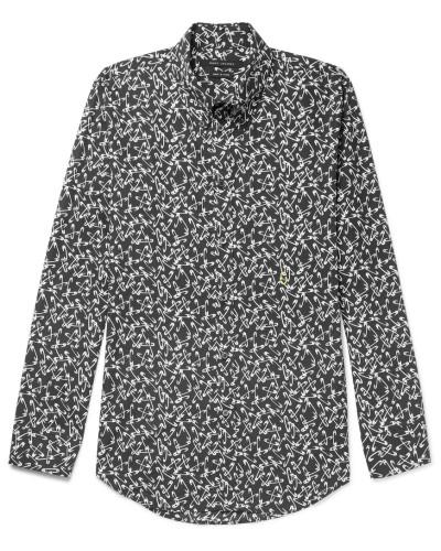 Button-down Collar Printed Cotton Shirt