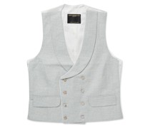 Stone Evering Double-Breasted Linen Waistcoat