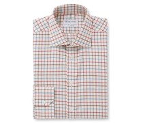 + Turnbull & Asser Slim-Fit Cutaway-Collar Checked Cotton-Flannel Shirt