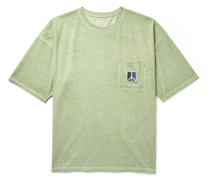 Peace Embroidered Pigment-Dyed Cotton-Jersey T-Shirt