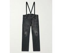Distressed Garment-Dyed Cotton-Moleskin Trousers