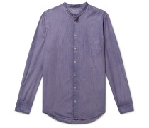 Grandad-Collar Striped Cotton Shirt