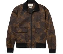 Camouflage-Print Herringbone Cotton-Twill Bomber Jacket