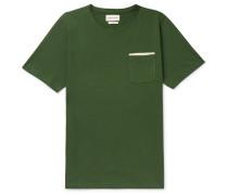 Herringbone-Trimmed Organic Cotton-Jersey T-Shirt