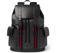 Monogrammed Coated-Canvas and Leather Backpack