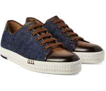 Playfield Denim And Polished-leather Sneakers