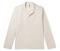 Camp-Collar Striped Organic Cotton-Poplin Pyjama Shirt