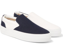 Two-tone Canvas Slip-on Sneakers