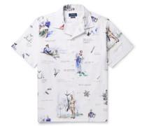 Camp-Collar Printed Cotton Oxford Shirt