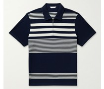 Striped Honeycomb-Knit Cotton Polo Shirt