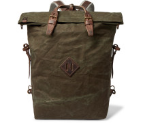 Woody Leather-Trimmed Waxed Cotton-Canvas Backpack