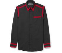 Cuban-fit Grosgrain-trimmed Cotton-poplin Shirt