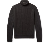 Textured-knit Cashmere Rollneck Sweater
