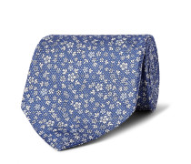 9cm Floral-print Silk And Linen-blend Tie