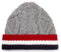 Striped Cable-knit Wool Beanie