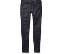 Skinny-fit Zip-detailed Panelled Selvedge Denim Jeans