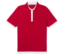 Contrast-tipped Knitted Silk And Cotton-blend Polo Shirt